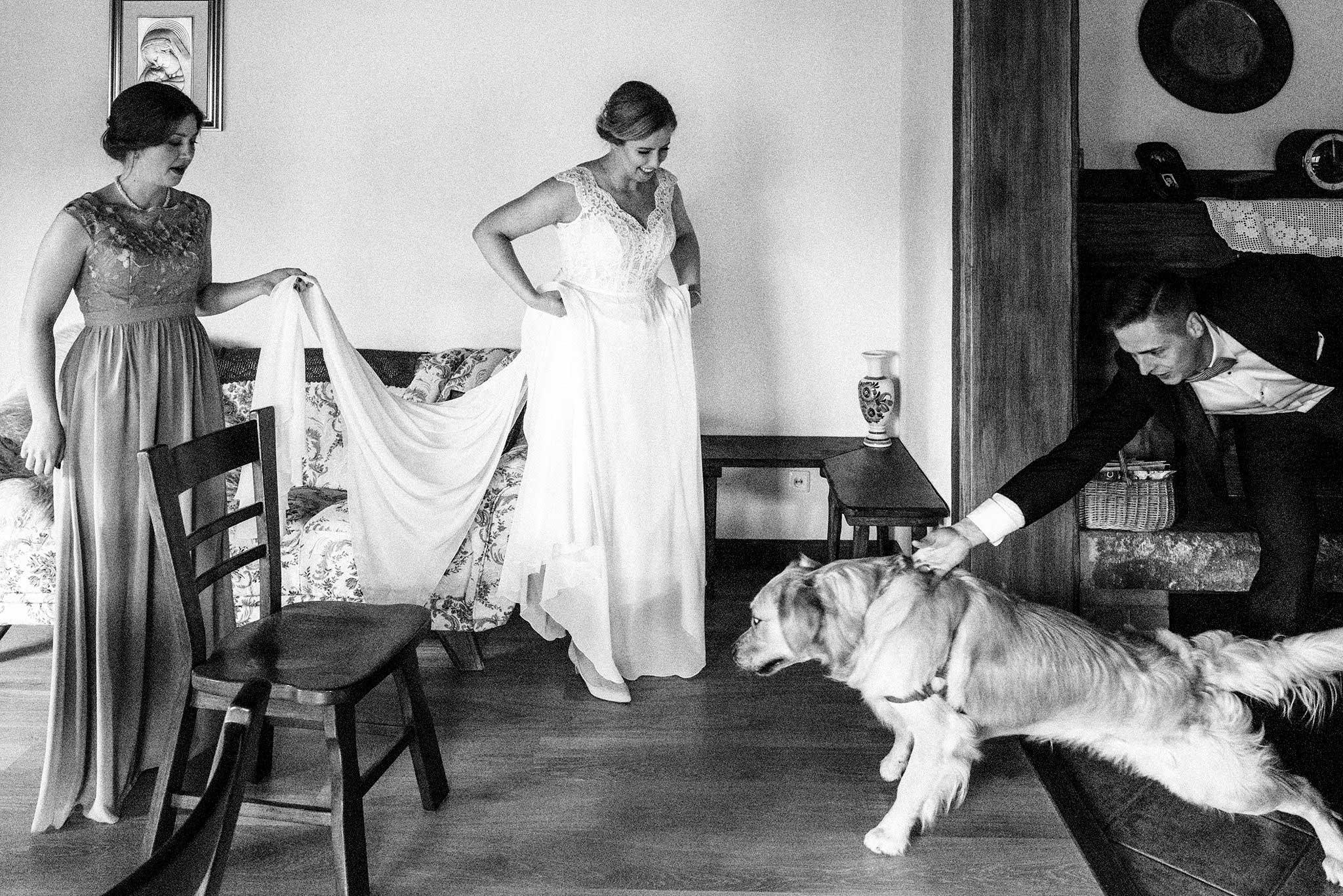Zdjęcie reportażowe przedstawiające pannę młodą podczas przygotowań do ślubu i jej rodzinę oraz psa