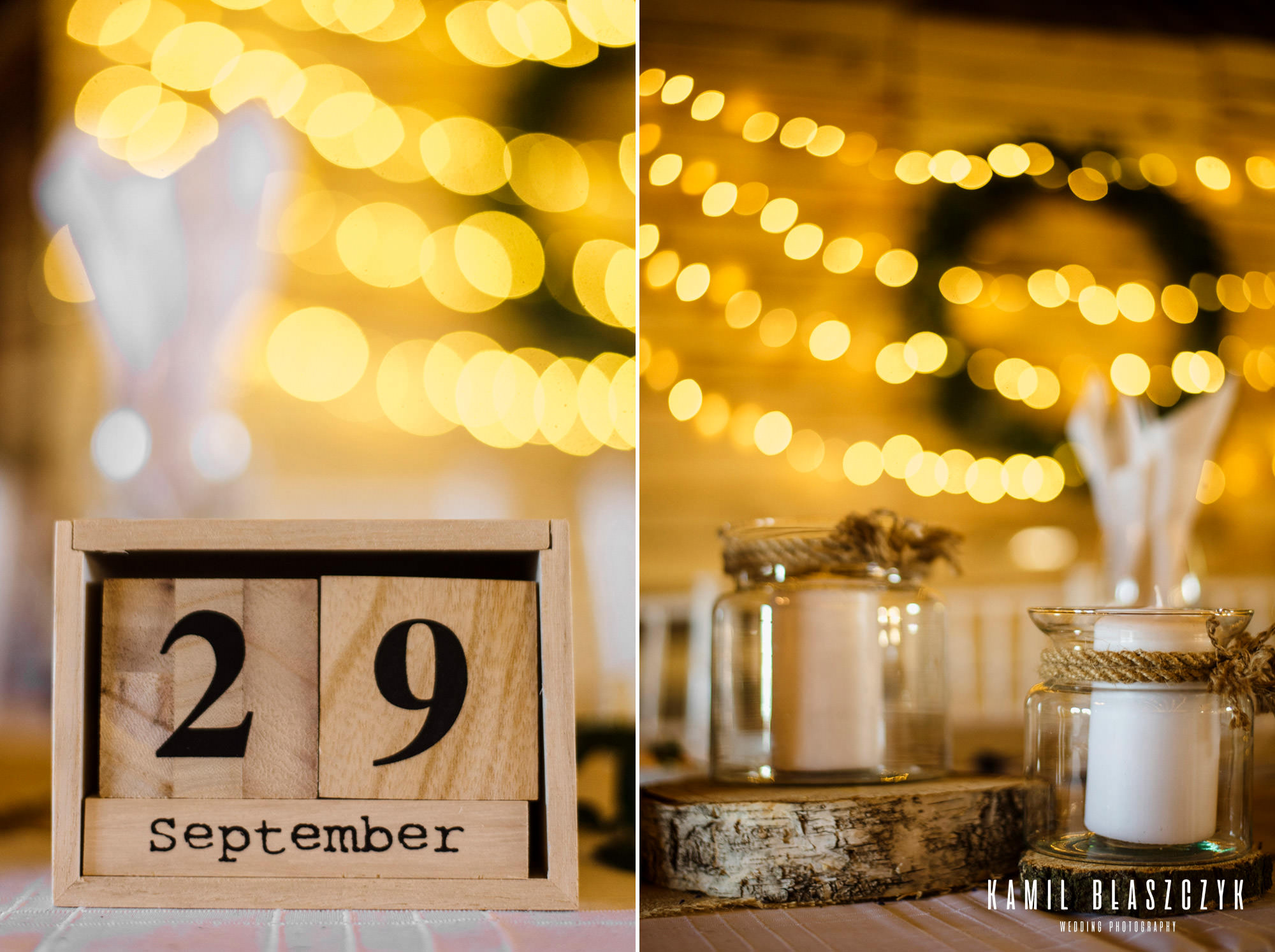 ozdoby na weselu sfotografowane przez fotografa ślubnego Kamila Błaszczyka